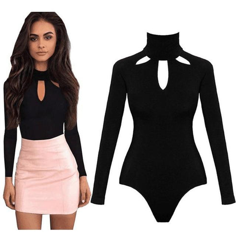Fashion Stretch Button Solid Slim Casual Ladies Rompers Bodysuit