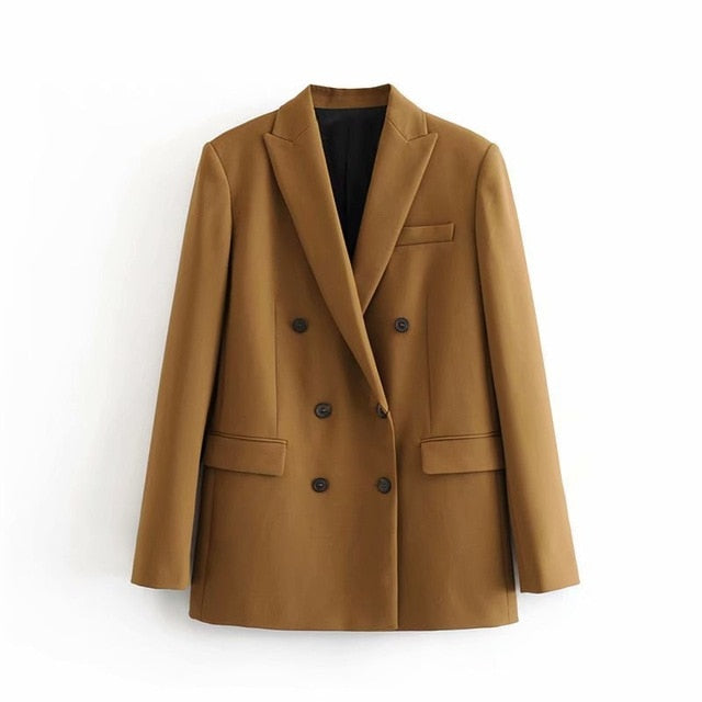 Vintage Double Breasted Blazer Work Office Lady Suits Coat