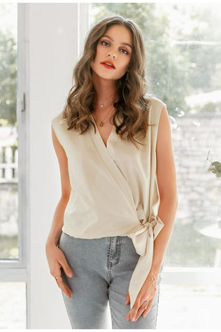Sexy solid deep V chiffon women blouse shirt