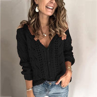 solid color hollow V-neck sweater cardigan