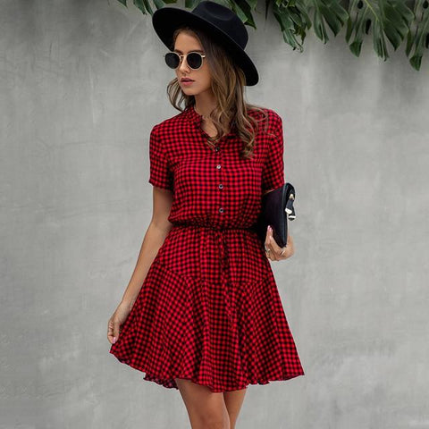 Mini Dress Fashion Plaid Snake Short Sleeve Casual Ruched Short