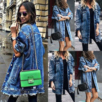 Basic Coat Holes Baggy Denim Jacket Long Sleeve