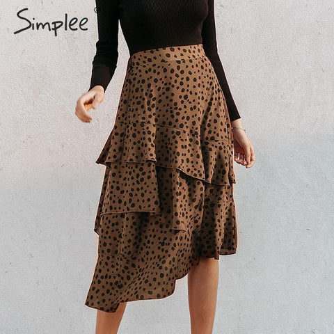 Ruffled leopard print midi skirt Elegant high waist asymmetrical skirt