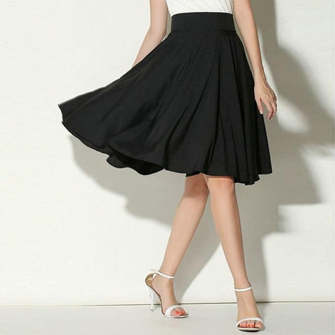 Summer Casual Solid Flared Retro Knee Length Pleated Midi Office Work Skirt