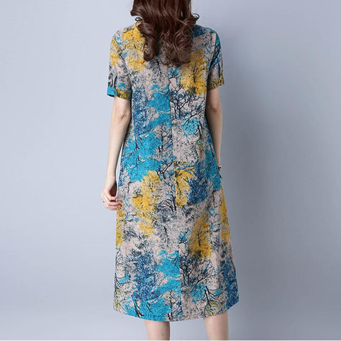 Loose Plus size Casual vintage Print beach Sundress