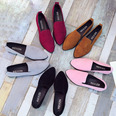 Women Loafers Flats Casual Suede Slip on Boat shoes