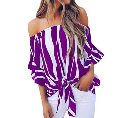 Striped Off Shoulder Blouse Casual Shirt