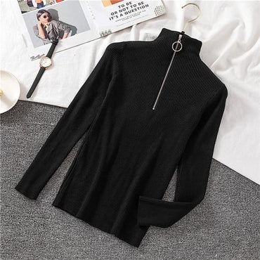 Zipper Half Turtleneck Solid Slim  Basic Pullovers Sweater