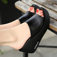 Sandals 7cm Platform Wedges Thick Heel Open Peep Toe