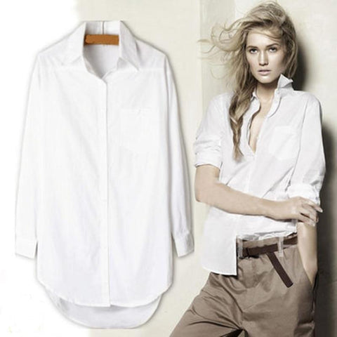 Long Blouse White Shirt Office Blouse