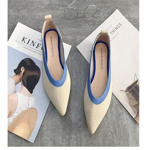 Flat Shoes Ballet Shoes Breathable Knit Pointed Shoes Moccasin Mixed Color