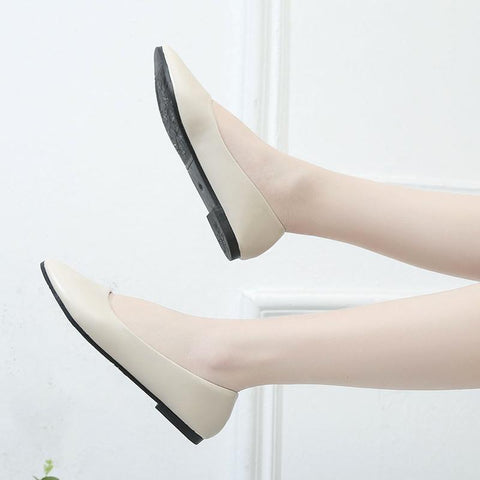 Casual Flock Flats Pointed Toe Slip On Boat Low Heel Shoes