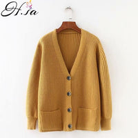 Cardigans Sweater V neck Solid Loose Knitwear Single Breasted Casual