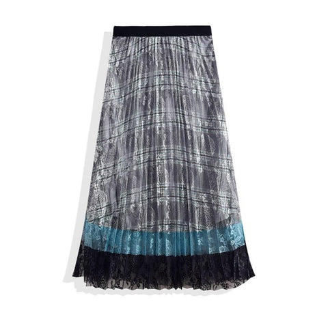 Vintage Lace Hollow High Waist Pleated Maxi Skirt