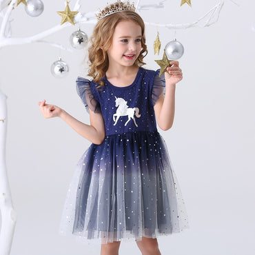 Princess Dresses Flying Sleeve Kids Unicorn Party Girls Dress