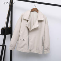 Autumn Faux Leather Jacket Casual Loose Soft Pu Leather Coat
