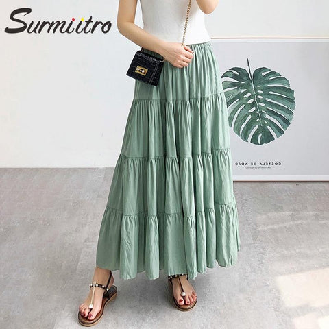 Pleated Skirt  Sun School Maxi Skirt