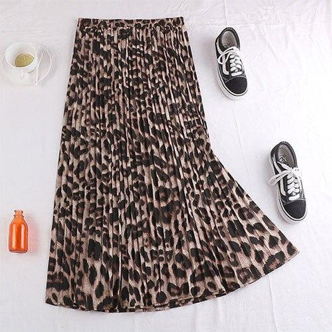 Pleated Skirt With Leopard Snake Print Maxi Skirt Female