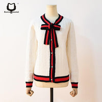 women bowtie pure color sweater cardigan