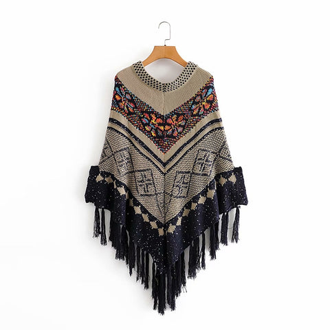 Boho Gypsy Tassels Knitted Sweater Shawl Wraps Ethnic Shawl Pullovers