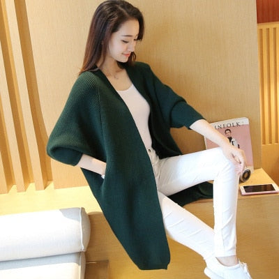 Long Cardigan Sweater Autumn Winter Bat Sleeve Knitted