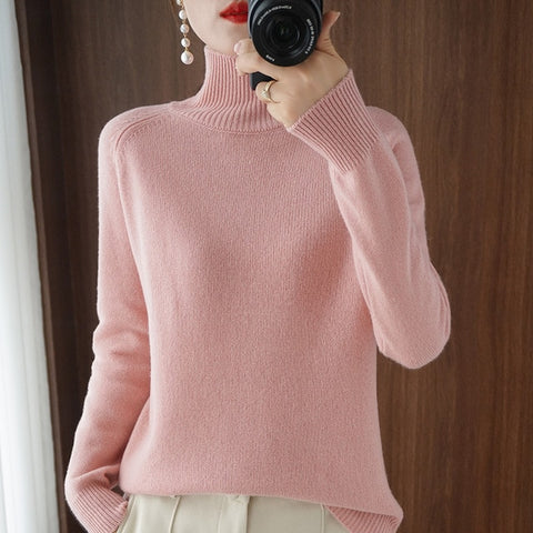 solid color sweaters high neck knitted