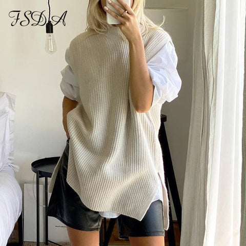 Beige Sleeveless Vest Long Loose Split O Neck Knitted Sweater