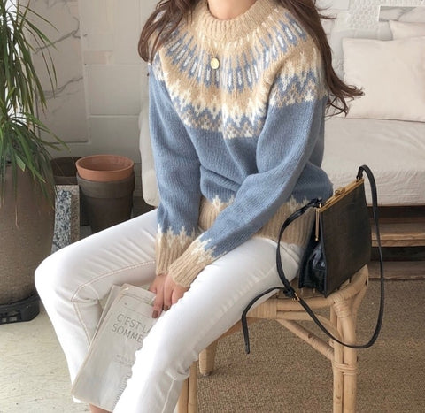 Sweater Oversize O-Neck Long Sleeve Geometric Loose Casual
