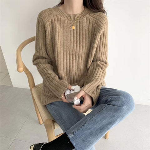 Casual Pullover Long Sleeve Round Neck Knitting Tops