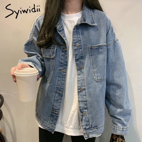 clothes oversized jeans denim coat Solid Casual