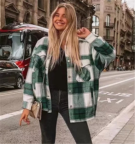 Plaid Jacket Coat Streetwear Thick Wool Coat Fashion