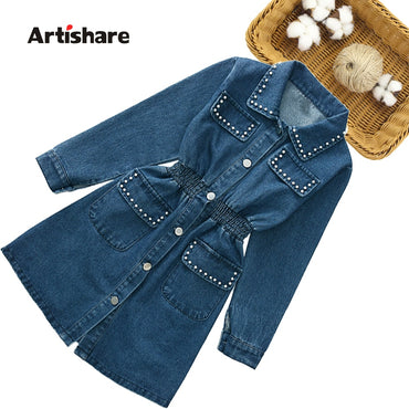 Girls Denim Dress Pearls Girl Child Dress Kids Casual Style