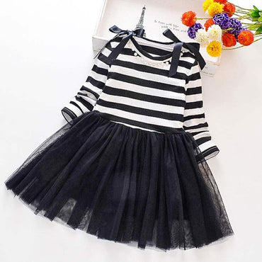Girls Dress Autumn Spring Cute Mesh Long Sleeve Princess