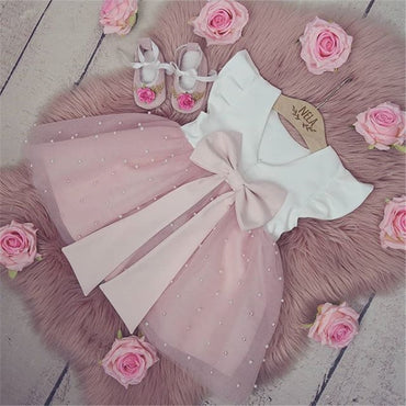 0-5Y Summer Princess Infant Baby Girls Dress Ruffles Sleeve Solid