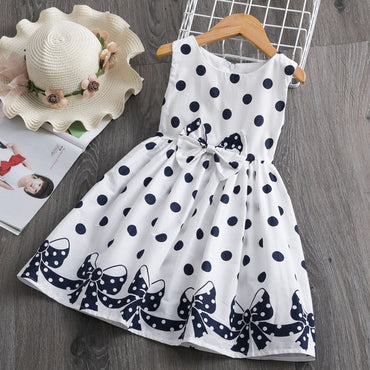 Kids Dresses for Girls 3-8 Years Summer Girl Dress Polka Dots