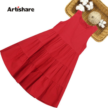 Dress Girl Solid Color Girls Party Dress O Neck Dress