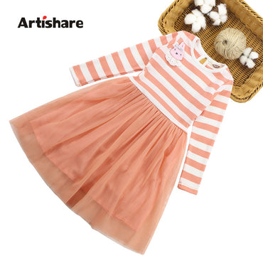 Girl Dress Casual Striped Kids Dress Full Length