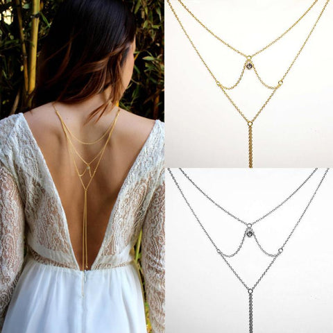 Sexy Gold Silver Color Crystal Back Long Multilayer Necklace