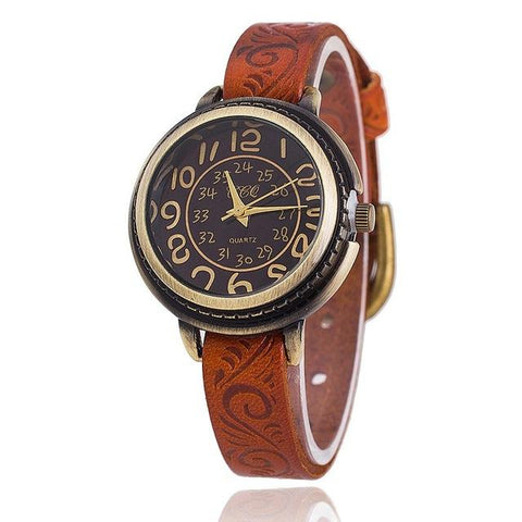 Vintage Cow Leather Watch High Quality Antique Women Wrist Watch