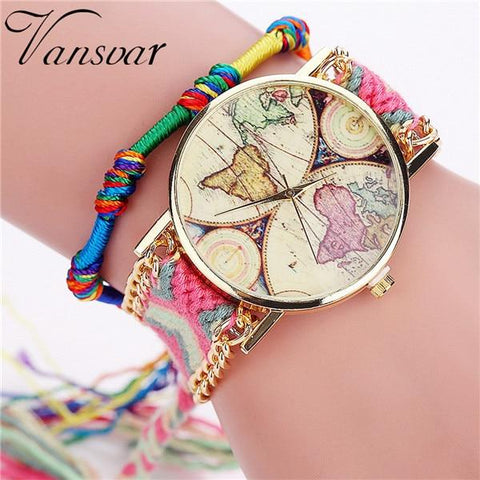 Vansvar Brand Handmade Braided Bracelet Watch
