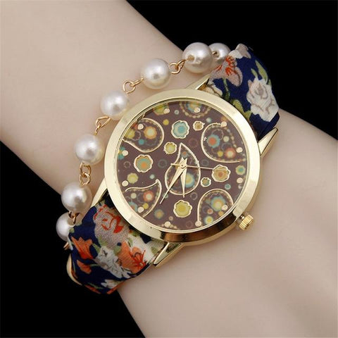 Hot selling fashion bracelet watch women bohemian pearl quartz watches