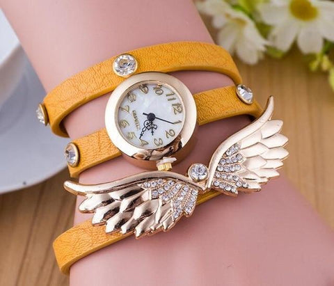 Bohemian Pink Color Leather Wristwatch