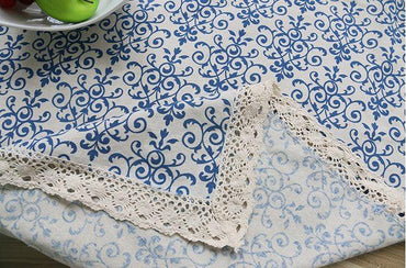 Retro Blue and White Cotton TableCloth