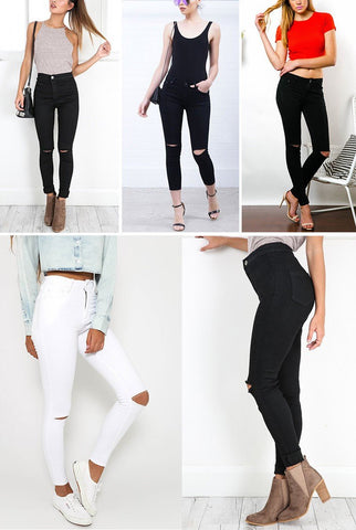 Black White High Waist Ripped Plus Size Hole Jeans Denim Skinny Jeans