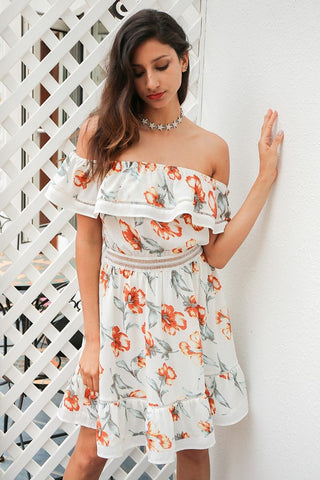 Summer boho print ruffle short dress