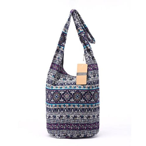 Cotton Fabric Large Capacity Crossbody Bag