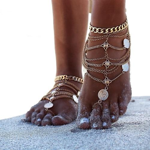 Sexy  Coin Pendant Chain Ankle