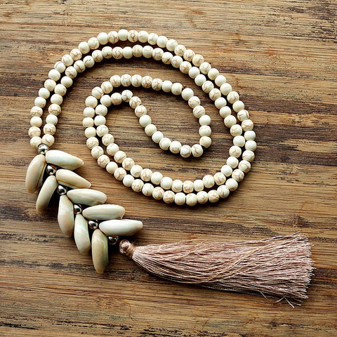 6mm White stone bead necklace with handmade Natural shell tassel long necklace