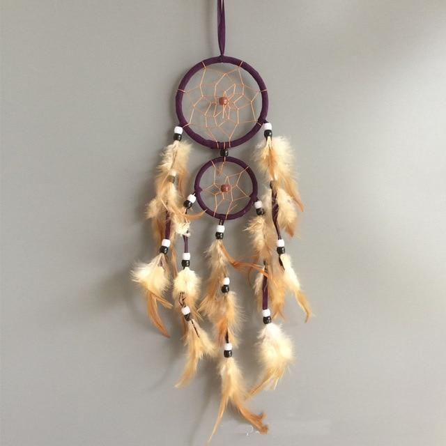 vintage home decoration retro feather dream catcher circular feathers wall hanging