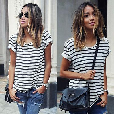Striped T-shirt Tops